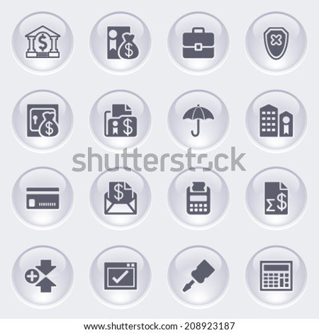 Banking icons on glossy buttons. - stock vector