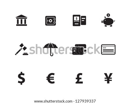 Banking icons on white background. Vector illustration. - stock vector