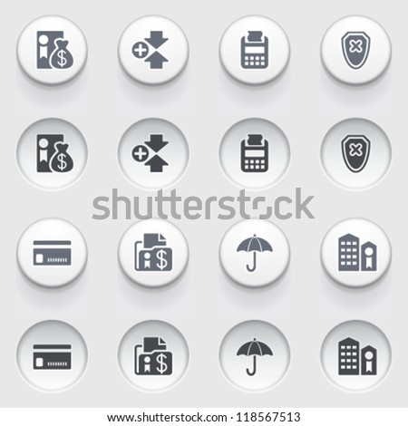 Banking icons on white buttons. Set 1. - stock vector
