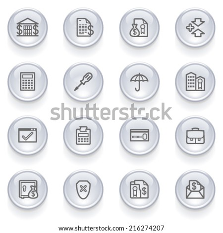 Banking icons with glossy buttons. - stock vector