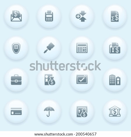 Banking icons with white buttons on blue background. - stock vector