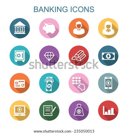 banking long shadow icons, flat vector symbols - stock vector