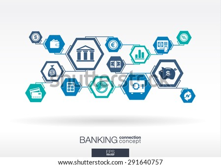 Banking network. Hexagon abstract background with lines, polygons, and integrate flat icons. Connected symbols for money, card, bank, business and  finance concepts. Vector interactive illustration - stock vector