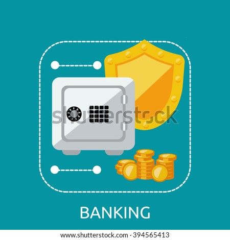Banking safe protection concept. Business finance banking money and bank security, secure safe and deposit banking, financial protection and saving investment vector illustration - stock vector