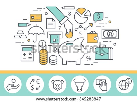 Banking service and finance concept illustration, thin line style, flat design - stock vector