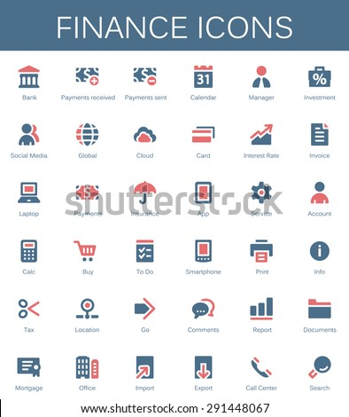 Banking services and finance tools icons. Modern vector pictograms - stock vector