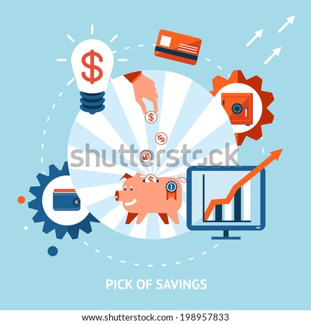 Banking vector eps10 illustration. Pick of savings. Money falling in piggy bank - stock vector