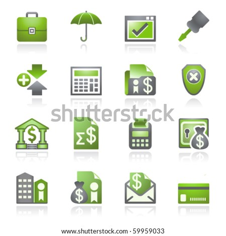 Banking web icons. Gray and green series. - stock vector
