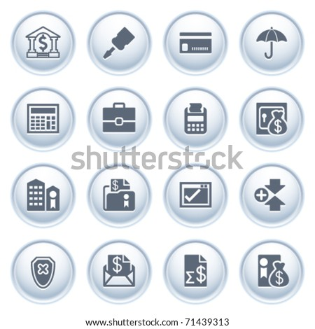 Banking web icons on buttons. - stock vector