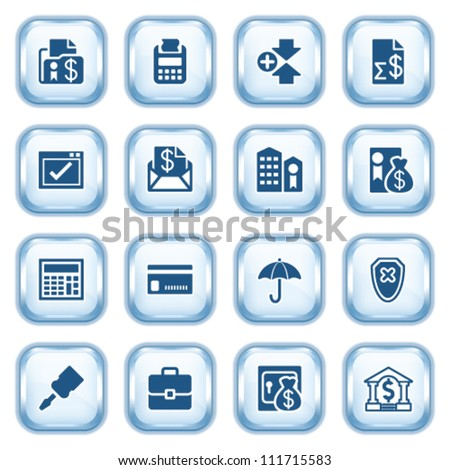 Banking web icons on glossy buttons. - stock vector