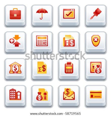 Banking web icons. Red and yellow series. - stock vector