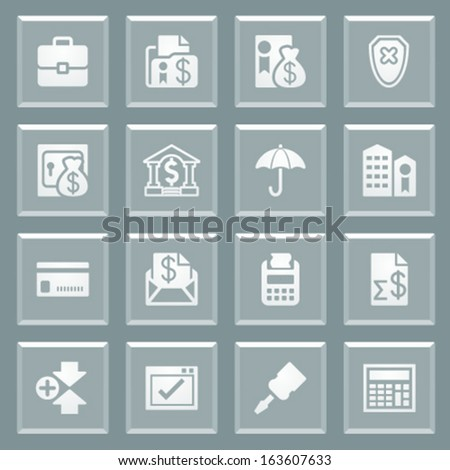 Banking white icons on glass buttons. - stock vector