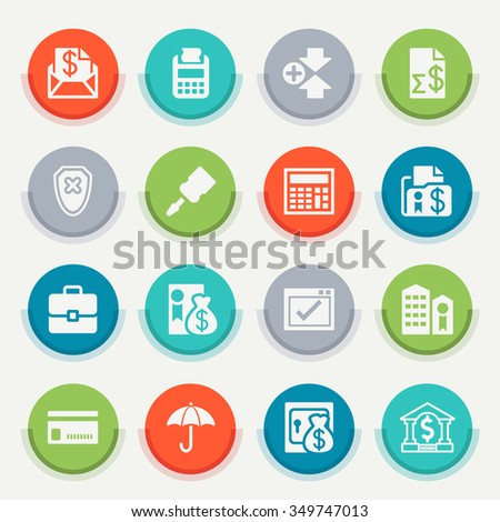 Banking white icons on the stickers. - stock vector