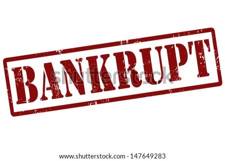 Bankrupt grunge rubber stamp on white, vector illustration - stock vector