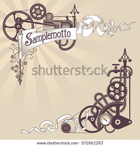 Banner and corner frame design made from steam engine parts. Steampunk styled vector illustration. - stock vector