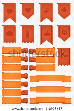 banner and ribbon bookmark,easy edited icons - stock vector