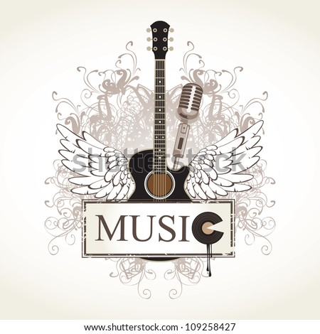 banner and wings with a guitar - stock vector