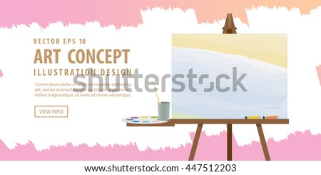Banner Art easel and canvas with Equipment for painting for advertising and presentation about art subject study illustration vector. - stock vector
