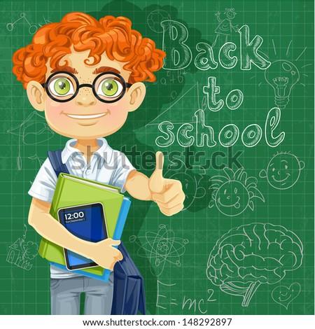 Banner - Back to school - Cute boy in glasses near the blackboard - stock vector