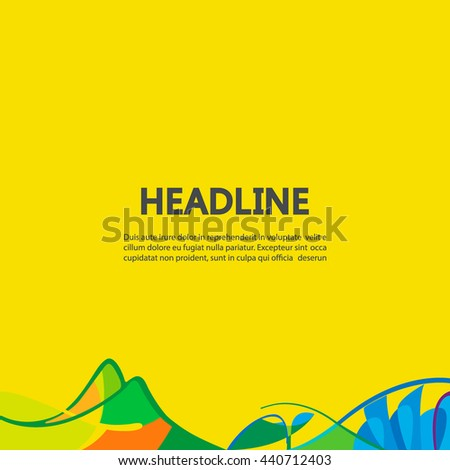 Banner background in colors of Brazil flag. Three color concept. Can be used in cover design, book design, website background, CD cover, advertising. Summer olympic games 2016. RIO. Parolympic - stock vector