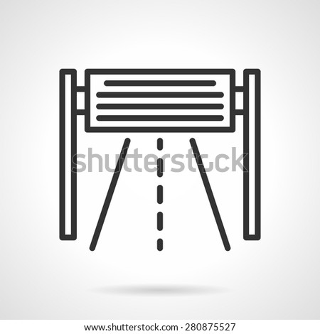 Banner, billboard or signboard over highway. Black flat line vector icon on white background. - stock vector