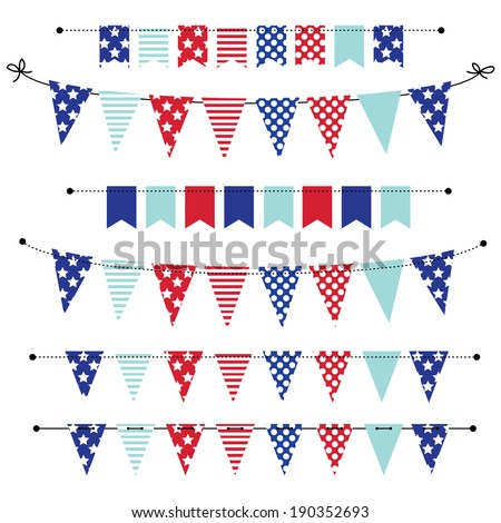 banner, bunting or flags in red white and blue patriotic colors, for scrapbooking, vector format - stock vector