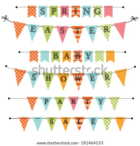 Banner, bunting or swag templates for scrapbooking  parties, spring, Easter, baby showers and sales, on transparent background, isolated on white - stock vector