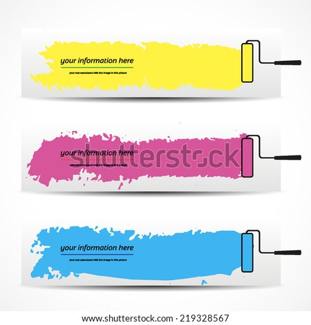 banner, colored vector brush strokes on a white background - stock vector