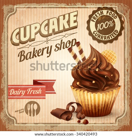 banner cupcake vintage chocolate - stock vector