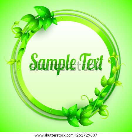Banner decorated with fresh green leaves and branches - stock vector