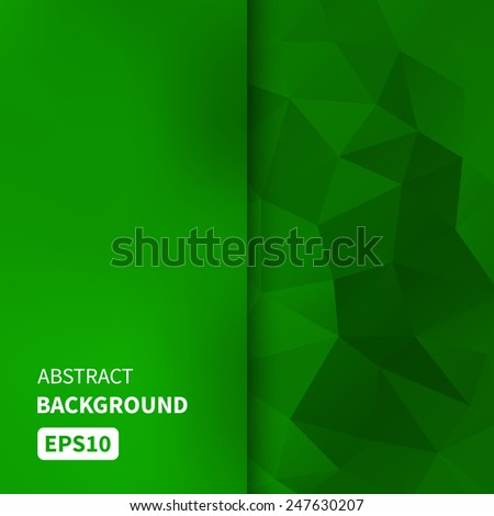 Banner design. Abstract template background with green triangle shapes. Vector illustration EPS10 - stock vector