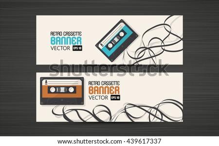 Banner design, Retro Cassette Vector Flat illustration. - stock vector