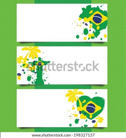 banner design, Watercolor in Brazil flag concept - stock vector