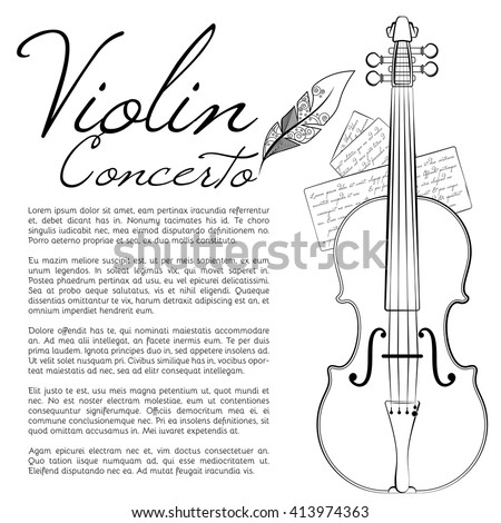 Banner for a concert of classical music with violin  - stock vector