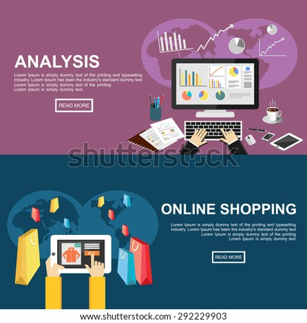 Banner for analysis and online shopping. Flat design illustration concepts for business, finance, management, analysis, marketing, business statistics, online shopping, e-commerce, buying online. - stock vector