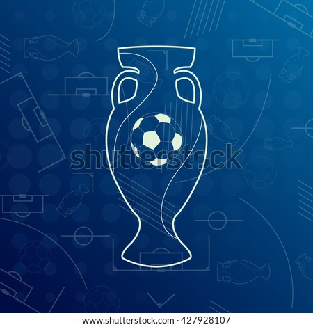 Banner for Euro 2016 World FIFA championship. Euro 2016 France. Football competition. Flyer, template, brochure design. Official vector euro cup. Trophy for the first place winner - stock vector