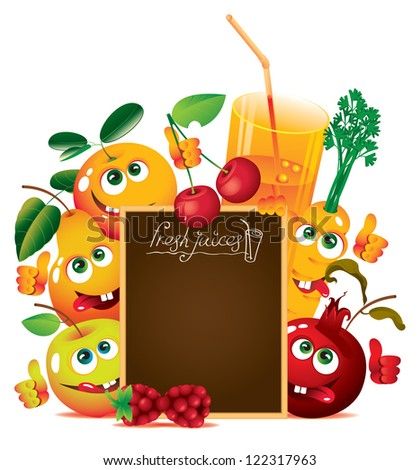 banner for juice and fresh juices with funny fruits - stock vector
