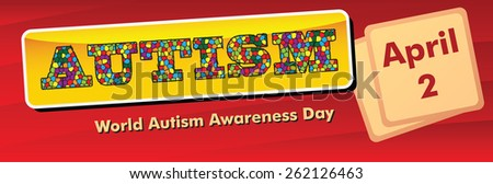 Banner for the World Autism Awareness Day, celebrated on 2 April. Vector illustration. - stock vector