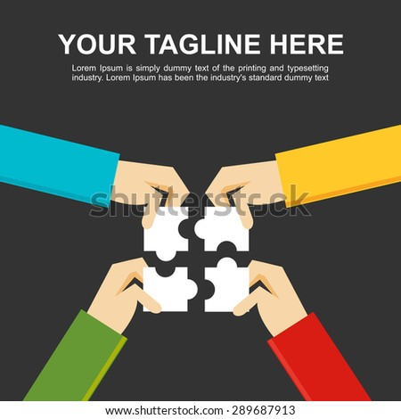 Banner illustration.  Making a solution concept. Business people with puzzle pieces. Flat design illustration concepts for teamwork, discussion, business, career, strategy, decision making, creativity - stock vector