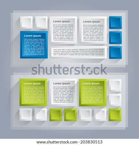 Banner made of cubes - vector background with white, green and blue colors - stock vector
