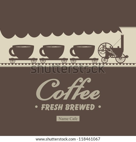 Banner menu for cafe with a locomotive and wagons with cups - stock vector