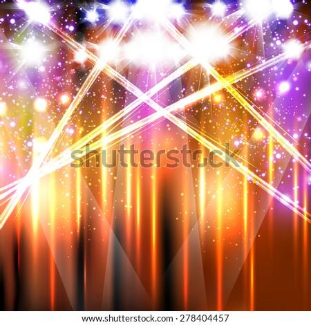 banner neon light stage background, easy editable - stock vector