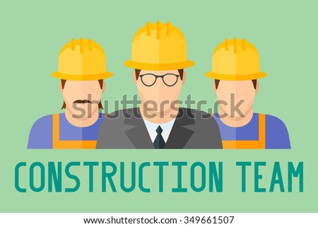 Banner of construction team. Group of construction workers. Flat style vector illustration. - stock vector