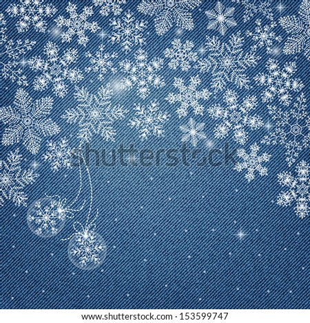 Banner on denim background with snowflakes in vector EPS 10. - stock vector