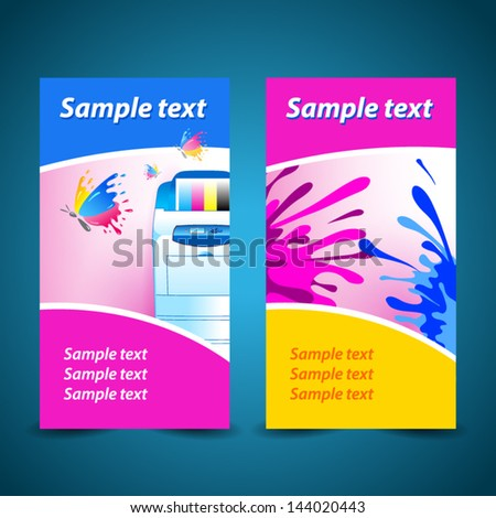banner print printer background abstract blue texture - stock vector