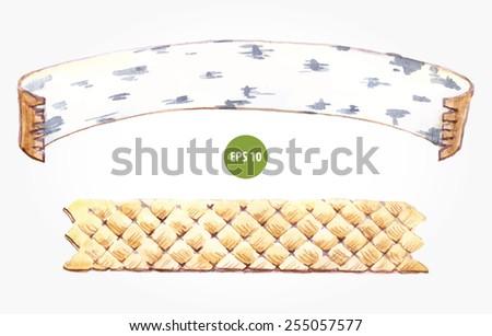 banner ribbon for text. natural wood for menu - stock vector