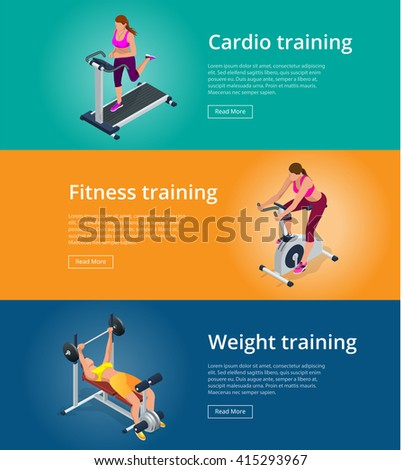 Banner set Fitness woman working out on exercise bike, Young woman with barbell flexing muscles, Pretty girl working out in a treadmill at the gym. Flat 3d isometric vector illustration - stock vector