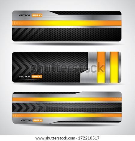 Banner set, metallic and carbon layout with yellow design elements - stock vector