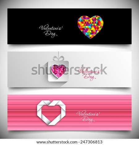 Banner set of valentine's day. - stock vector