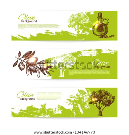 Banner set of vintage olive background splash backgrounds - stock vector